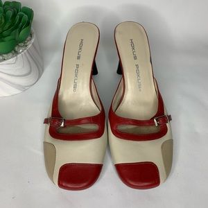 Hokus Pokus Mary Jane style heels red tan size 7.5